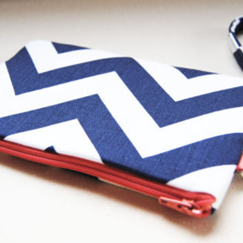 Chevron wristlet in navy blue and coral, clutch, iPhone sleeve, smartphone wallet