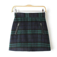 Green Plaid Double Zipper Woolen Skirt