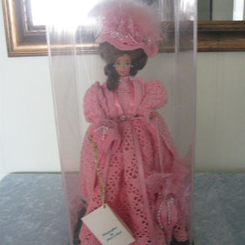 "FREE SHIPPING, Beautifully Crocheted 1896 Motoring Costume  on 11.5"" Doll in Display Case, Handmade Doll Clothes, Pink, Barbie Doll"