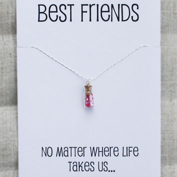 Best Friends No Matter Where Life Take Us Pendant Fashion Stone Necklace