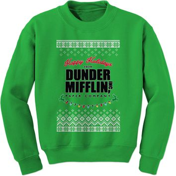 Happy Holidays from Dunder Mifflin Ugly Christmas Adult Crewneck Sweatshirt