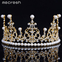 Mecresh Top Crystal Simulated Pearl Jewelry Gold Plated Tiara Crown Bridal Wedding Hair Jewelry HG050