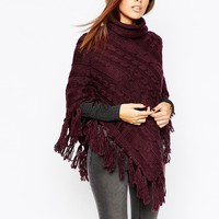 Warehouse Cable Knit Poncho