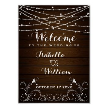 Welcome Sign | Rustic String Lights Hearts Wedding