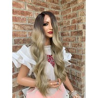 """BAMBI Blonde Ombré Balayage Highlights Hair Lace Wig 18"""""""