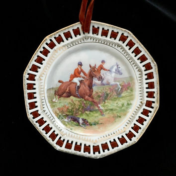 Horse Riding, Horse Decor, Horse Plate, Equestrian Hunt Scene , Vintage China, Home Decor Wall Hanging, Pierced Plate, Birthday Gift