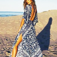 Boho Long Floral Backless Maxi Dress