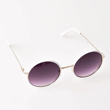 White & Gold Oh Nice Round Sunglasses