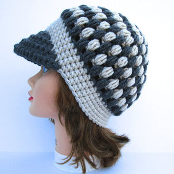 Women's Crochet Cap - Newsboy Hat In Linen And Charcoal - Puff Stitch Beanie With Brim - Visor Hat - Wool Blend Hat - Crochet Accessories