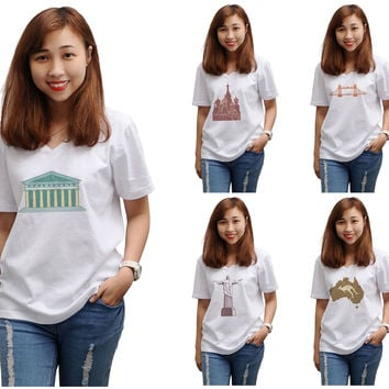 Women Symbols of countries Printed V-neck T-shirt WTS_16