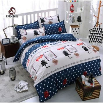 Black Cat Bedding Set Cartoon Duvet Cover Set Bedclothes For Children Active printing 4pcs Bed Linen jogo de cama