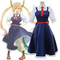 Miss Kobayashi's Dragon Maid Tohru Cosplay Costume for Women Kobayashi San Chi No Maid Uniforms Costume
