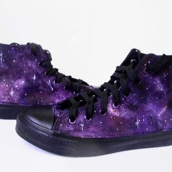 Custom handpainted purple galaxy sneakers,personalized shoes, galaxy converse, galaxy