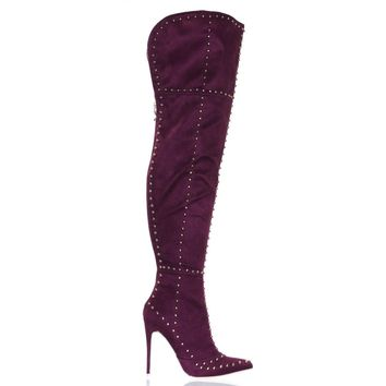 Mackinj181- by Mackinj Metal Studded Over The Knee High Heel Dress Boots, Women Thigh Highs