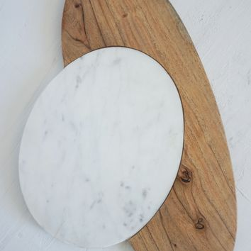 Marble Cheese Board - Wood & Marble Round Cutting Surface Size Large