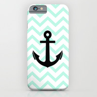 Pastel Mint Tiffany Turquoise, Chevron Anchor iPhone & iPod Case by RexLambo | Society6