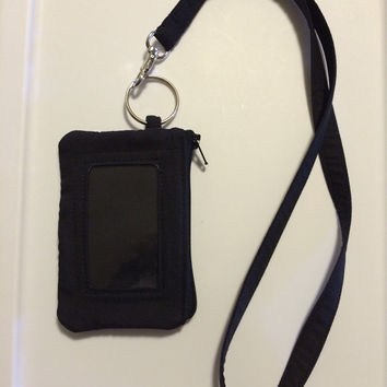 Hand Made Lanyard With ID Wallet in Black With Extra Zipper