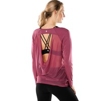 Women's Active Open Back Long Sleeve Mesh Workout Yoga Sports T-shirt Athletic Running Gym Tops