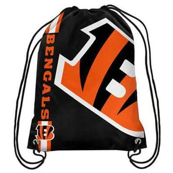 ESBON 2017 New Fashion Cincinnati Bengals Drawstring Backpack Digital Printing Knitted Polyester Custom Sports Backpack