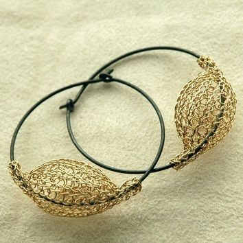 Gold and silver large earrings  original handmade design by Yoola