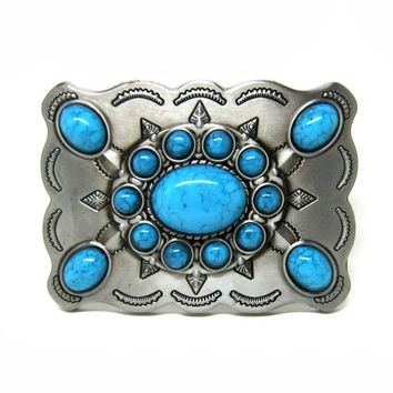 Western Turquoise Stone Cowgirl Cowboy Belt Buckle
