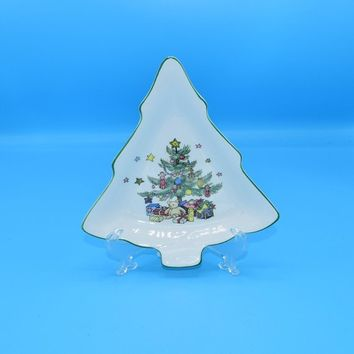 Nikko Christmas Tree Snack Tray Vintage FREE SHIPPING Ceramic Japan Candy Dish Dishwasher Microwave FreezerOven Safe Christmas Holiday Decor