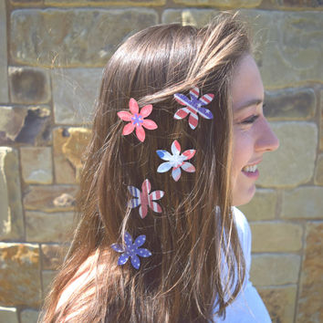 4th of July gift, July 4th accessories, July 4th gifts, American flag hair magnets, 4th of July hair accessories, July 4th hair accessories