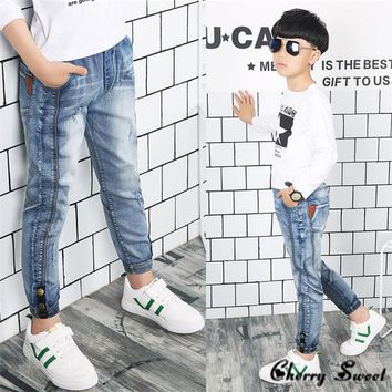 2018 Spring children's clothing denim stitching, Personality Boys jeans,for big kids boys jeans long trousers 3 5 7 8 10 12 14 Y
