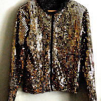 1980s gold sequined jacket