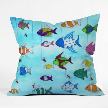 Rosie Brown Tropical Fishing Throw Pillow