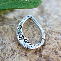 316L Stainless Steel Crescent Moon Teardrop Seamless Ring