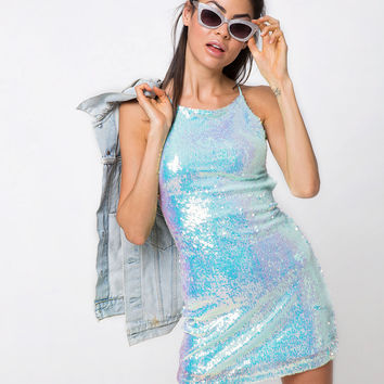 Hedi Dress in Fishcale Sequin Candy Unicorn by Motel