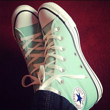 """""""Converse"""" Fashion High tops Wine red Canvas Flats Sneakers Sport Shoes Mint green"""
