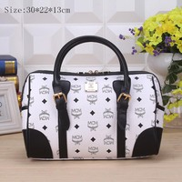 MCM Women Leather Luggage Travel Bags Tote Handbag White  G-YJBD-2H