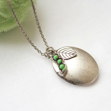 Antique style Oval Locket Necklace with peapod and leaf