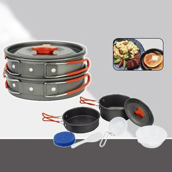 Outdoor Camping Hiking Non-stick 2x Pot Cooking Set Bowls Camping Portable Jacketed Kettle Cookware Picnic Utensils Tool