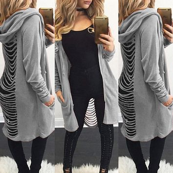 Gothic Women Ladies Cut Out Cardigan Long Ripped Back Hooded Hoodie Coat Sweate