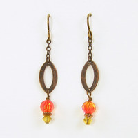 Orange Dangle Earrings - Tangerine Amber Crystal Copper Drop Jewelry