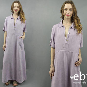 Linen Maxi Dress Lilac Dress Lavender Dress Purple Dress 90s Maxi Dress Minimal Dress Minimalist Dress 90s Dress 1990s Linen Dress S M L