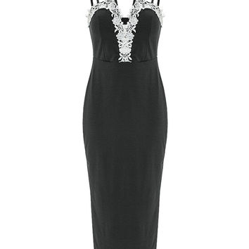 Black Plunging Contrast Lace Trimmed Midi Dress