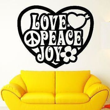 Wall Stickers Vinyl Decal Peace Love Joy Hippie Pacifism Good Decor Unique Gift (ig1768)