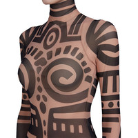 New Women Summer Tribal Tattoo Print Mesh Jumpsuit  African Aztec Retro  Bodysuit Celebrity Catsuit Jumpsuit
