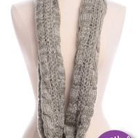 Cable Knit Infinity Scarf, Green