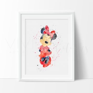 Minnie Mouse Watercolor Art Print - Red