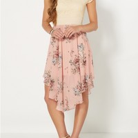 Pink Roses Hanky Hem Dress