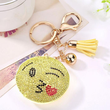Rhinestone Car Keychain Kawaii Emoji Bag Handbag Decorations Pendant For Key Best Friends Gifts Chaveiros#A11
