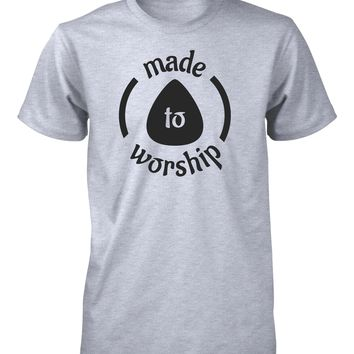 Made To Worship Lead Guitar Player Guitarist Music Worshiper Band Christian T-Shirt for Men