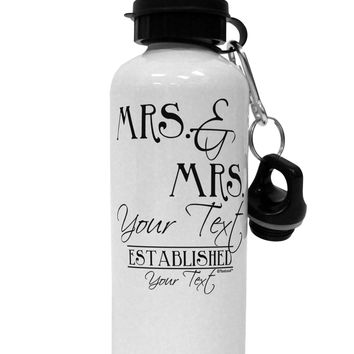 Personalized Mrs and Mrs Lesbian Wedding - Name- Established -Date- Design Aluminum 600ml Water Bottle
