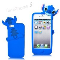Disney Stitch Hide and Seek Silicone Case Cover for Iphone 5 - Blue: Cell Phones & Accessories