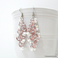 Pink glass earrings, chainmaille jewelry for women